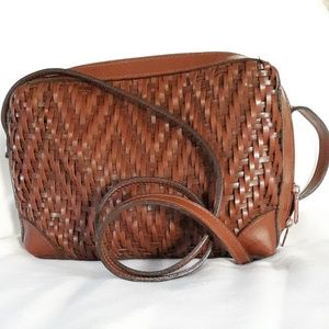Handbags - Brown vegan leather woven cross body bag with zip